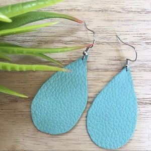 Boutique Leather Earrings Handcrafted Blue New!